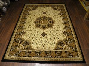 Woven Backed Ivory/Black Traditional Carved Rug 160cm x 230cm Approx 8x5 Top Quality